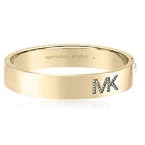 Michael Kors Women's MK Crystal Logo Gold Bangle